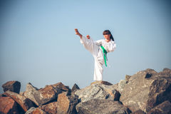 Young girl training karate Stock Image