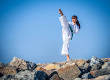 Young girl training karate Royalty Free Stock Photography
