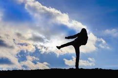 Young girl training karate Stock Photo