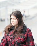 Young girl in transit center Stock Photo
