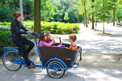 Young girl transporting children in the cart . Stock Photo