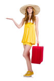 Young girl with travel case holding isolated Royalty Free Stock Photo