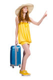 Young girl with travel case pressing virtual. Button isolated on white Stock Images