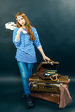 Young girl is travel-ling. With her guitar Royalty Free Stock Photo