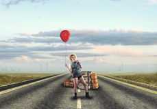 Young girl traveling stock photography