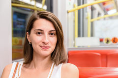 Young Girl Traveling By Subway Transport Stock Images