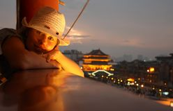 Young girl travelling in China Stock Images