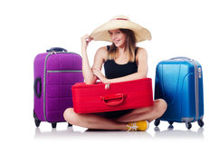 Young girl travelling Stock Images