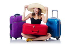 Young girl travelling. Isolated on the white Stock Photos