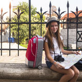 Young girl travels to Europe. Royalty Free Stock Photo
