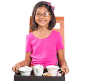 Young Girl With Tray of Tea I Royalty Free Stock Photo