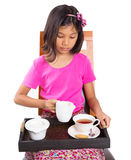 Young Girl With Tray of Tea III Royalty Free Stock Image