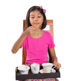 Young Girl With Tray of Tea VI Royalty Free Stock Photography
