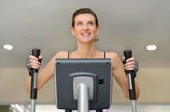 Young girl on treadmill Stock Photo
