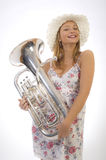 Young girl with trumpet Royalty Free Stock Photo