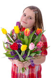 Young girl with tulip bouquet Royalty Free Stock Photography