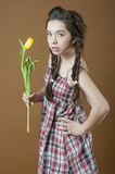 Young girl with tulips. Stock Photos