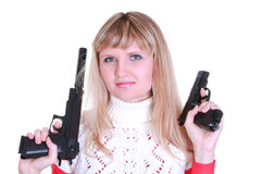 Young girl with two guns Royalty Free Stock Photo