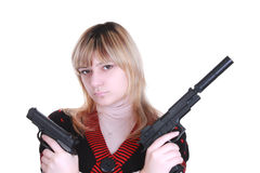 Young girl with two guns Stock Photos
