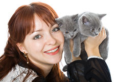 The young girl and two kittens royalty free stock photography