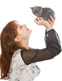 The young girl and two kittens Royalty Free Stock Image
