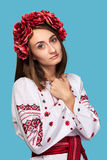 Young girl in the Ukrainian national suit Royalty Free Stock Image