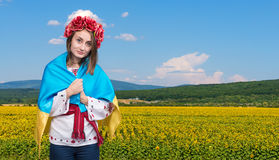 Young girl in the Ukrainian national suit Royalty Free Stock Photography