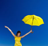 Young  girl with umbrella Stock Images