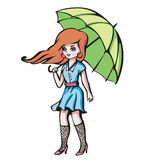 Young girl with umbrella Stock Photo