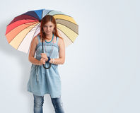 Young girl with an umbrella Stock Photography