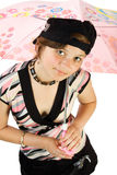 Young girl with umbrella. Isoalte on white Royalty Free Stock Image
