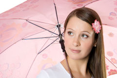 Young girl with umbrella. Royalty Free Stock Image