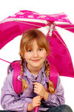 Young girl with umbrella isolated on white Stock Photos