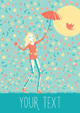 Young girl with umbrella walking. Happy young girl with umbrella walking under the flowers rain Royalty Free Stock Photo
