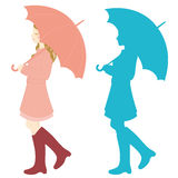 Young girl with umbrella. Stock Image