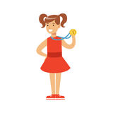 Young girl un a red dress with a first place medal, kid celebrating his golden medal cartoon vector Illustration. On a white background Stock Image