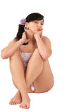 Young girl in underwear Royalty Free Stock Images
