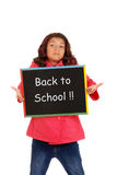 Young girl unhappy back to school. Isolated Young girl unhappy back to school Royalty Free Stock Photo