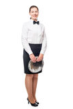 Young girl in uniform waitresses in full length isolated Stock Photo