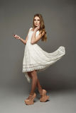 Young girl in unusual lace dress Royalty Free Stock Photos