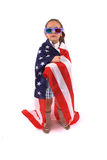 Young girl and usa flag royalty free stock photo