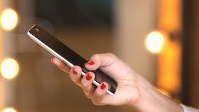 Young girl use cellphone for browsing social networks stock footage