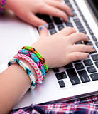 Young girl using the laptop Royalty Free Stock Image