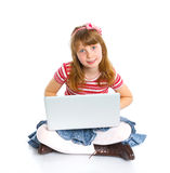 Young girl using notebook computer Stock Photography