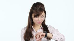 Young Girl Using Smartwatch. Designer , young man , handsome stock footage