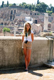 Young girl on vacation in Rome Stock Images