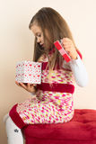 Young Girl with Valentine Gift Royalty Free Stock Photos