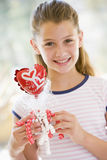 Young girl on Valentine's Day with love balloon Royalty Free Stock Photo