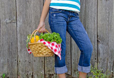 Young girl with vegetable basket Royalty Free Stock Photography