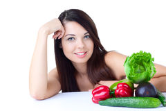 Young girl with  vegetables Stock Image